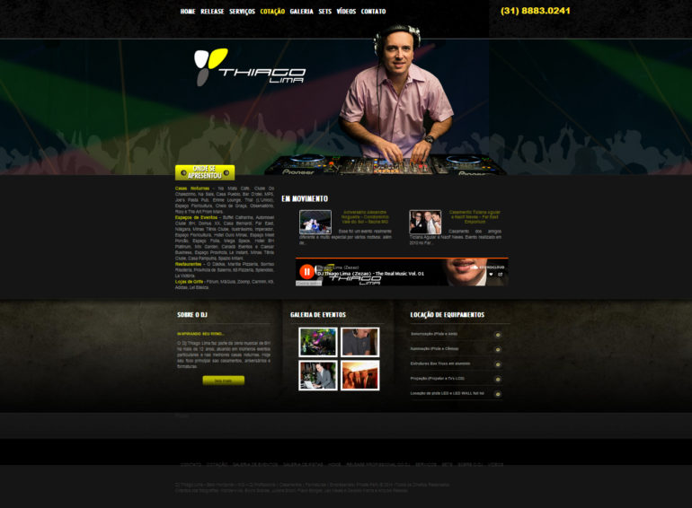 CRIAÇÃO DE SITES: WEBSITE DJ THIAGO LIMA – WORDPRESS