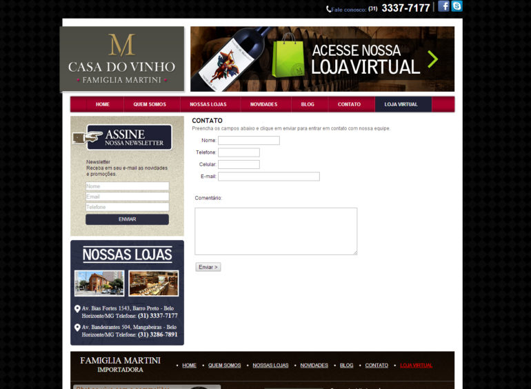 CRIAÇÃO DE SITES: WEBSITE CASA DO VINHO – INSTITUCIONAL – WORDPRESS