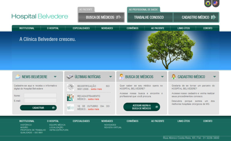 CRIAÇÃO DE SITES: WEBSITE HOSPITAL BELVEDERE – WORDPRESS