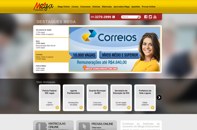 CRIAÇÃO DE SITES: WEBSITE MEGA CONCURSOS – WORDPRESS