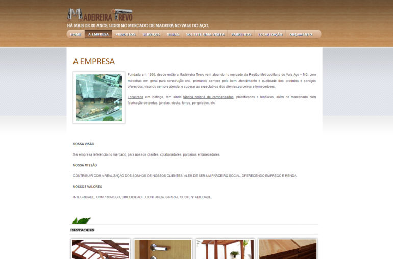 CRIAÇÃO DE SITES: WEBSITE MADEIREIRA TREVO – WORDPRESS